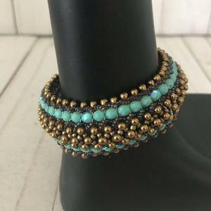 Handmade Turquoise and Gold Beaded Bracelet Size 6